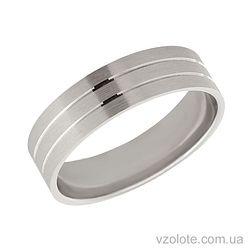 Обручальное кольцо из белого золота матовое Стиль