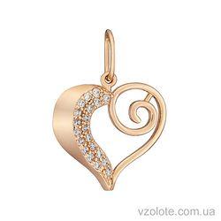Золотой кулон с фианитами в форме сердца (арт. 3102613101)