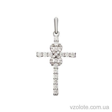 Золотой кулон крест с фианитами (арт. 3103641102)