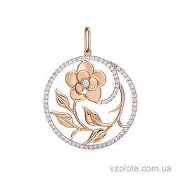 Золотой кулон Цветок с фианитами (арт. 3103824101)