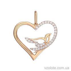 Золотой кулон Сердце и голубь с фианитами (арт. 3103826101)