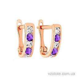 Золотые серьги с фианитами (арт. 110144ф)