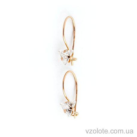 Золотые серьги с фианитами (арт. 100105тр)