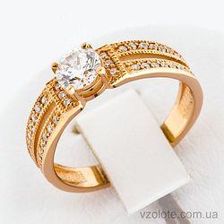 Золотое кольцо с фианитами (арт. 12148с)