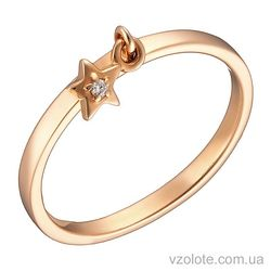 Золотое кольцо с подвеской с фианитом (арт. 1102889101)