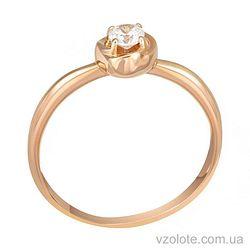 Золотое кольцо с фианитом (арт. 1190755101)