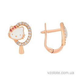 Золотые серьги Hello Kitty с фианитами и эмалью (арт. 2102579101)