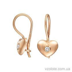 Золотые серьги-петельки Сердечки с фианитами (арт. 2102690101)
