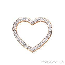 Золотая подвеска Сердце с фианитами (арт. 3102422101)