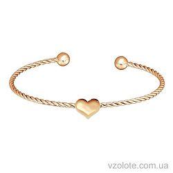 Золотой браслет жесткий Сердце (арт. 4203421101)