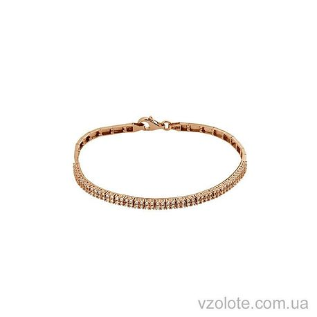 Золотой браслет полужесткий с фианитами (арт. 4212921101)