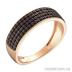 Золотое кольцо с черными фианитами (арт. 1191011101ч)