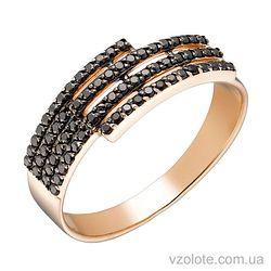 Золотое кольцо с черными фианитами (арт. 1191012101ч)