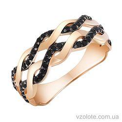 Золотое кольцо с черными фианитами (арт. 1190863101ч)