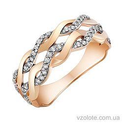 Золотое кольцо с фианитами (арт. 1190863101)