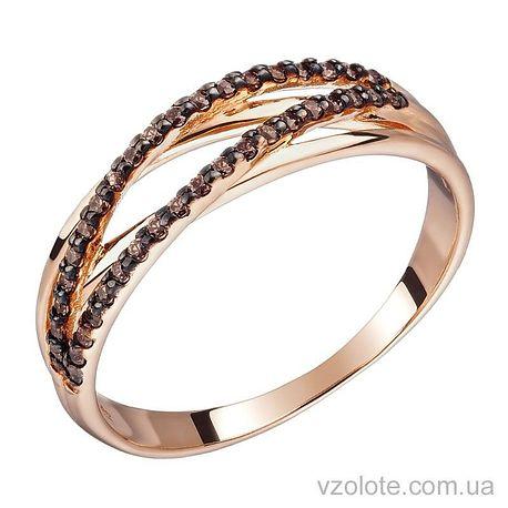 Золотое кольцо с кофейными фианитами (арт. 1190873101к)