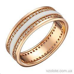Золотое кольцо с бриллиантами и белой эмалью (арт. 1103192201)