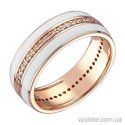 Золотое кольцо с бриллиантами и белой эмалью (арт. 1103193001)