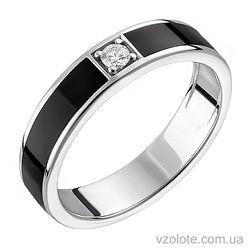Золотое кольцо с бриллиантом и черной эмалью (арт. 1103194202)