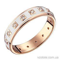 Золотое кольцо с бриллиантами и белой эмалью (арт. 1103196001)