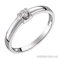 Кольцо из белого золота с бриллиантом (арт. 1103524202)