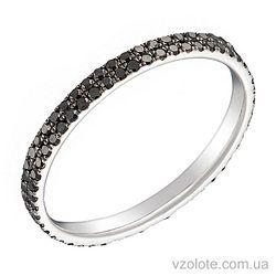 Кольцо из белого золота с черными бриллиантами (арт. 1103528202)