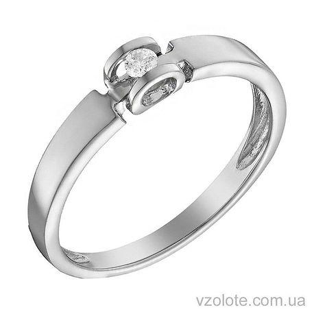 Кольцо из белого золота с бриллиантом (арт. 1104079202)