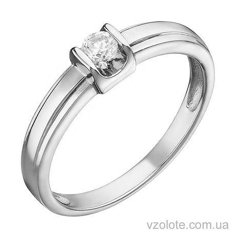 Кольцо из белого золота с бриллиантом (арт. 1104089202)