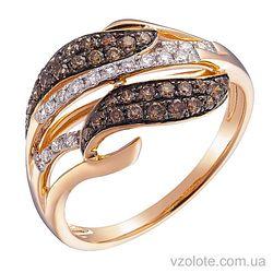Золотое кольцо с коньячными бриллиантами (арт. 1190914201)