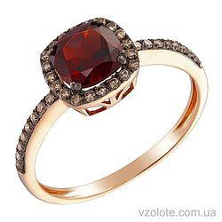 Золотое кольцо с коньячными бриллиантами и гранатом (арт. 1190929201)