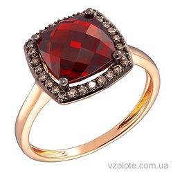 Золотое кольцо с коньячными бриллиантами и гранатом (арт. 1191002201)