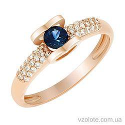 Золотое кольцо с бриллиантами и сапфиром (арт. 1191081201)
