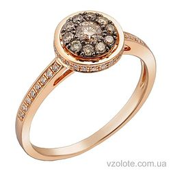 Золотое кольцо с коньячными бриллиантами (арт. 1191193201)
