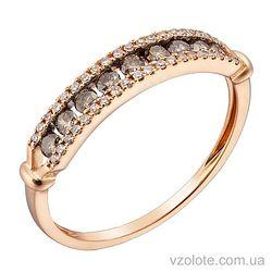 Золотое кольцо с коньячными бриллиантами (арт. 1191195201)