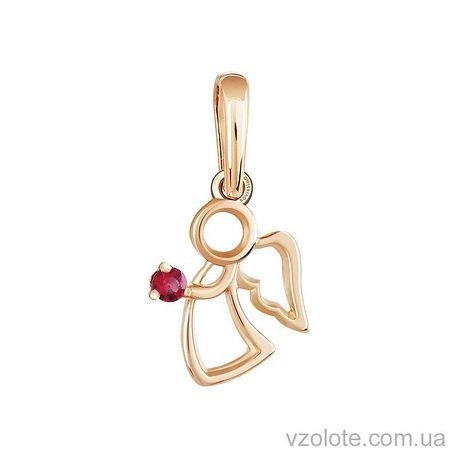 Золотой кулон с рубином Ангелок (арт. 3100881201р)
