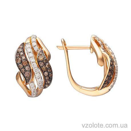 Золотые серьги с коньячными бриллиантами (арт. 2190914201)