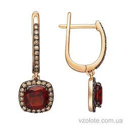 Золотые серьги с коньячными бриллиантами и гранатами (арт. 2190929201)