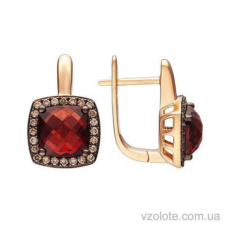 Золотые серьги с коньячными бриллиантами и гранатами (арт. 2191002201)