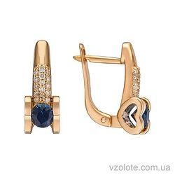 Золотые серьги с бриллиантами и сапфирами (арт. 2191081201)