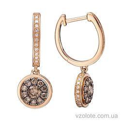 Золотые серьги с коньячными бриллиантами (арт. 2191193201)