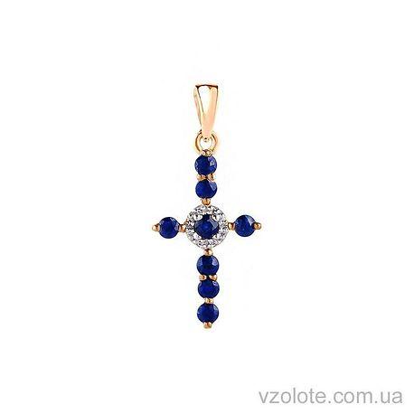 Золотой крестик с бриллиантами и сапфирами (арт. 3101399201с)
