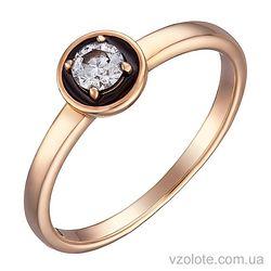 Золотое кольцо с бриллиантом и черной эмалью (арт. 1190391201)