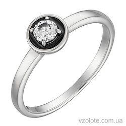 Кольцо из белого золота с бриллиантом и черной эмалью (арт. 1190391202ч)
