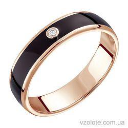 Золотое кольцо с бриллиантом и черной эмалью (арт. 1103199201ч)