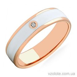 Золотое кольцо с бриллиантом и белой эмалью (арт. 1103199201б)