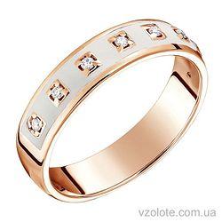 Золотое кольцо с бриллиантами и белой эмалью (арт. 1103195201б)