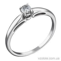 Кольцо из белого золота с бриллиантом (арт. 1103455202)