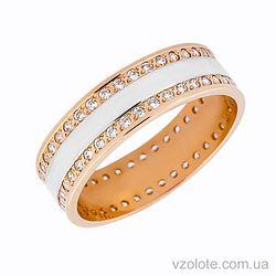 Золотое обручальное кольцо с фианитами (цирконием) (арт. 1088-1)