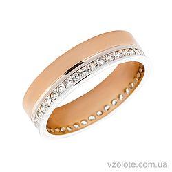 Золотое обручальное кольцо с фианитами (арт. 1077-3)