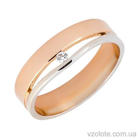 Золотое обручальное кольцо с фианитом (цирконием) (арт. 1077)